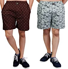 White Moon Cotton Men's Printed Casual,Sports,Regular wear Boxer/Shorts with Pockets in MHROON,Gry Colour (Pack of 2)