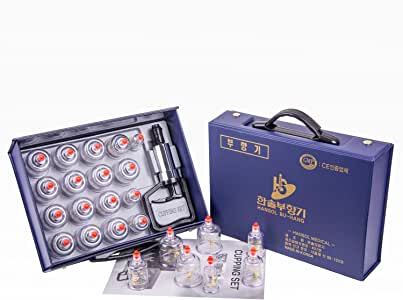 Hansol Professional Cupping Therapy Equipment Set with pumping handle 17 Cups & English Manual (Made in Korea)