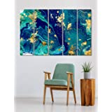 999Store living room decorative items modern wooden wall decor set Abstract blue and golden wall art panels hanging painting