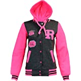 Kids Girls and Boys Unisex R Baseball Bomber Jacket Varsity Letterman with Hoodie Neon Pink Sleeve 7-14 Years