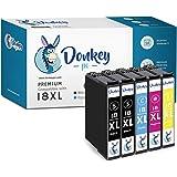 Donkey pc- 18XL Cartucce di inchiostro per Epson Expression Home XP-225, XP-215, XP-205, XP-322, XP-312, XP-405, XP-412, XP-4