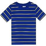 Spring&Gege Camiseta de manga corta con rayas y cuello redondo de algodón para niños