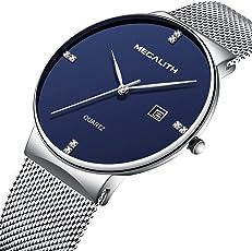 Herren Uhren Männer Wasserdicht Sport Armbanduhr Edelstahl Mesh Luxus Datum Kalender Einfach Dünne Business Casual Analoge Quartz Uhr