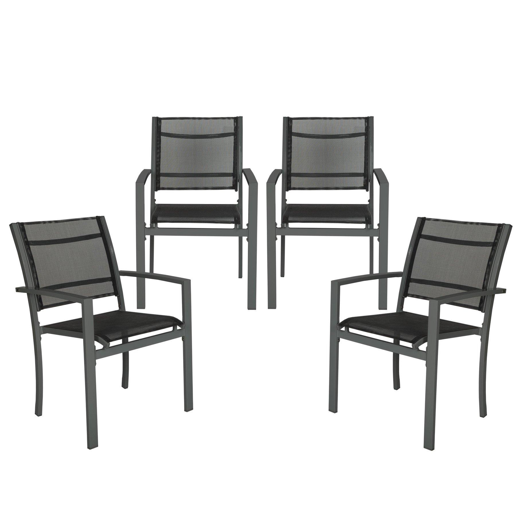 Set Di Sedie Da Giardino.Tectake Set Di 4 Sedie Da Giardino Poltrona Campeggio Metallo