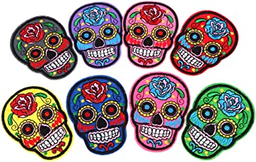 Segolike 8 Pieces Sugar Skull Iron On/Sew Cloth Patch Badge Mexico Day of the Dead Appliques