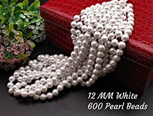 Satyam Kraft Plastic Pearl Beads for Beading DIY Jewellery (White)