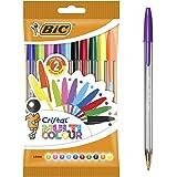 BIC Cristal Bolígrafos de Colores, Multicolor, Punta Ancha (1,6mm), Material Oficina, Blíster de 10 Bolis