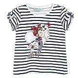 Mayoral 3.010 - Camiseta de verano para niña (con apertura en los hombros y lazos), diseño de rayas, color azul marino y blan
