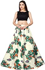 Jil Creation Women's Crepe Silk floral Printed Lehenga Chaniya Ghagra Choli Type Long Skirt With Top For Partywear, Wedding and Functions (JC011) Multicolor