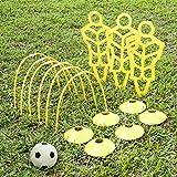 A11N Fußball-Trainings-Set mit 3 Übungspuppen, 6 Passenbögen, 6 Scheibenkegeln, 1 Mini-Fußball und Pumpe, 1 Tasche mit Kordelzug, ideal für Kinder ab 5 Jahren