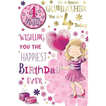 Granddaughter 4th Birthday Card Badge