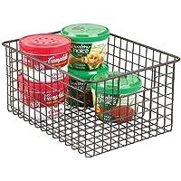mDesign panier de rangement polyvalent – boîte en métal pour la cuisine, le garde-manger, etc. – 30,5 cm x 22,9 cm x 15…
