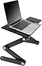 Techlife Solutions Portable Adjustable Aluminum Mouse Pad 360 Degree Revolve Folding Vented CPU Fans Bed Laptop Desk Stand Table (Black, TECH00056)