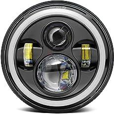 Biroller BR7IH1P 7 Inch Round LED Headlight with Full Ring Hi/Lo Beam Halo Angel Eyes for Jeep Harley Davidson Cruiser (40W)