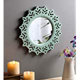 """The Urban Store Wood Hand Crafted Round Shape Vanity Wall Mirror Glass for Living Room, 14""""X14"""" (Green)"""
