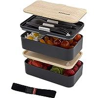 ZEEbento ® Bento Lunch Box Bambou Design   Bento Japonais   Hermétiques   Résiste au Micro-Ondes et Lave-Vaisselle…