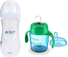 Philips Avent Baby's Natural Feeding Bottle with Soft Spout Cup 200ml (6m+) (Green/Blue)