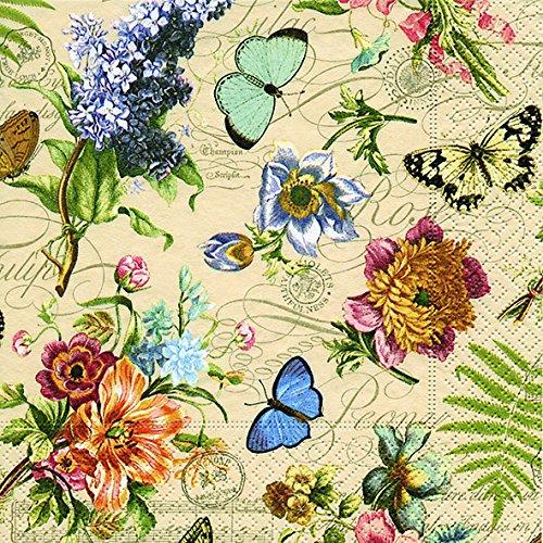 20 Servietten Vintage Summer - Sommerszene Vintage / Blumen / Schmetterlinge 33x33cm