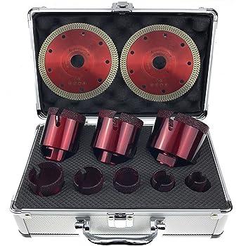 Set di 4 punte per trapano per piastrelle in gres porcellanato 20 68 mm in valigetta inclusi - Punte per piastrelle ...