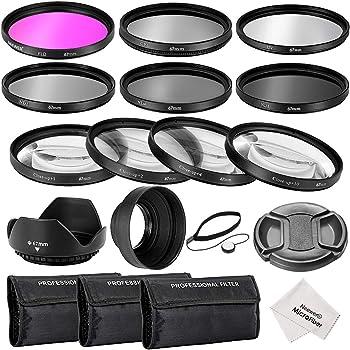 Neewer® Kit d'Accessoires 67MM Filtre pour Objectif Complet pour Caméra DSLR CANON EOS 70D 60D 7D 6D EOS 700D 650D 600D 550D/T5i T4i T3i T3 T2i Kit Inclut: 1*Kit de Filtres (UV, CPL, FLD) + 1*Kit de Filtres Macro Close-up (+ 1, 2, 4, 10) + 1*Kit de Filtres à Densité Neutre (ND2, ND4, ND8) + 1*3-en-1 Parasoleil Pliable+ 1*Parasoleil Tulipe + 1*Alignement sur Bouchon avant Objectif + 1*Bouchon Gardien Laisse + 3*Etuis de Filtres + 1*Chiffon Microfibre de Nettoyage
