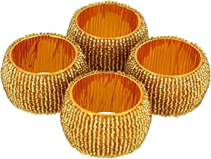 Prisha India Craft Beaded Napkin Rings Set of 4 golden Decorations Christmas Ornaments, Perfect for Dinners, Parties, Weddings - Artisan Crafted in India - GIFT ITEM