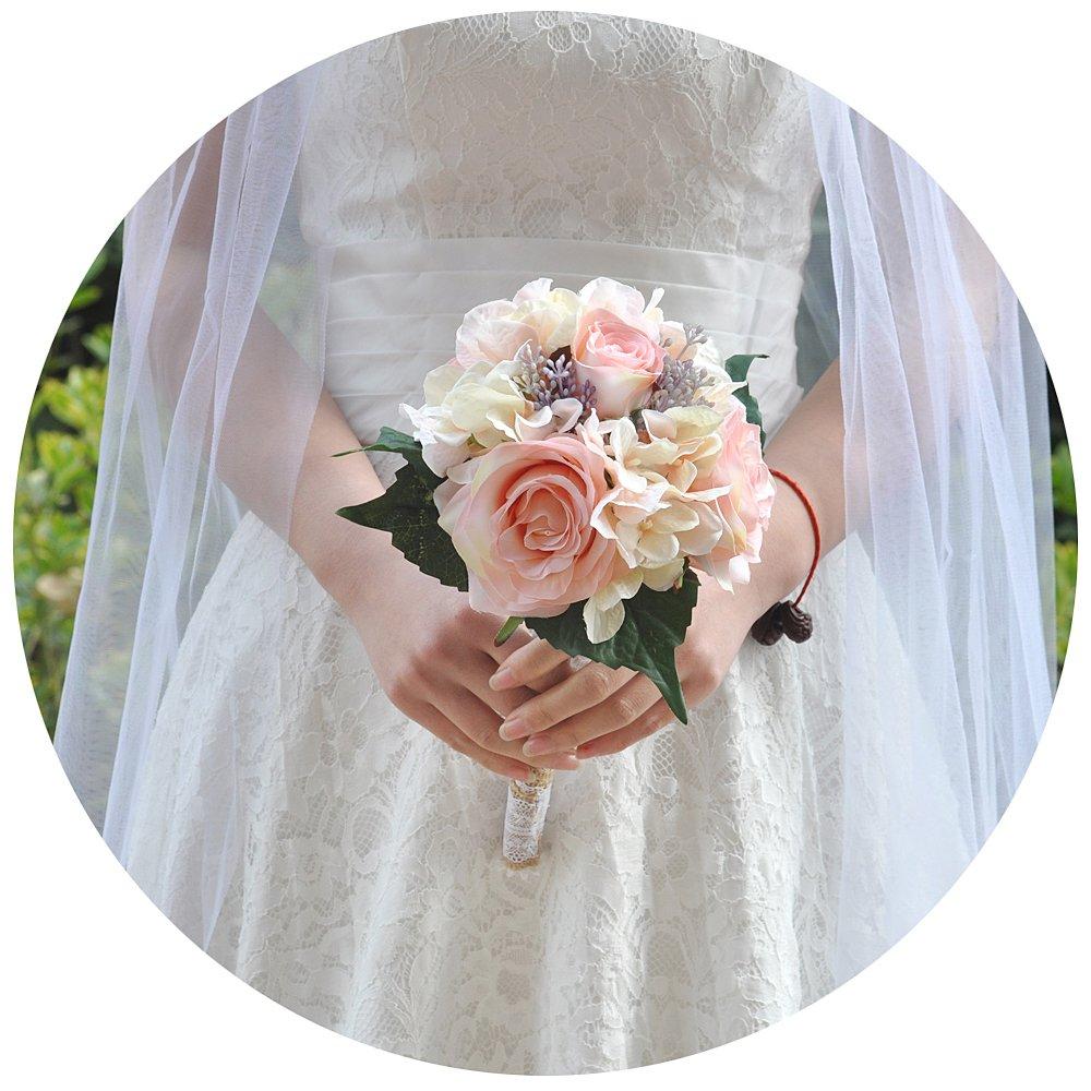 Ramo de boda ULAPAN para novia, ramo de novia con flores artificiales para boda, blush, F8