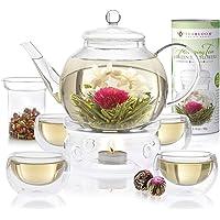 Teabloom Set Completo Fiori di Tè: Teiera in Vetro Borosilicato,12 Fiori di tè, Riscalda Teiera, 4 Tazze in Vetro a…
