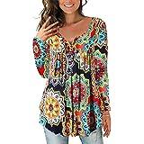 Camicette delle Donna Magliette Maniche Lunghe con Scollo a V Fit Casual Bottone Camicia Tunica Tops Blusa