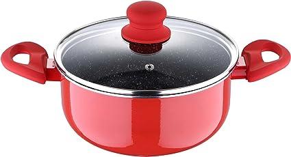 Bergner Bellini Plus Aluminium Casserole with Lid, 4.5 Liters/24cm, Red
