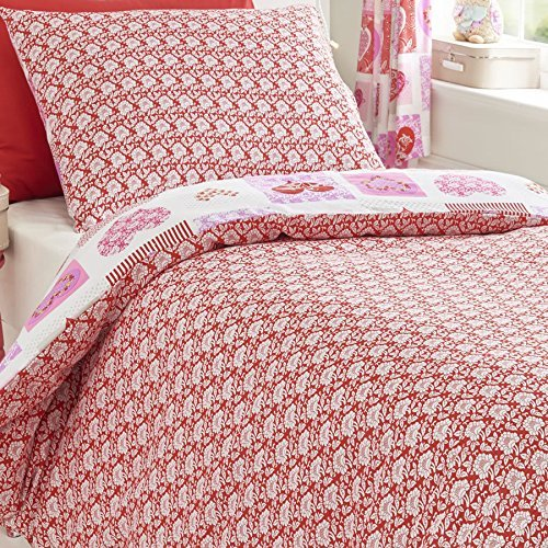 Homespace Direct Hearts Flowers Patchwork Quilt Duvet Cover and 2 Pillowcase, Pink, Double
