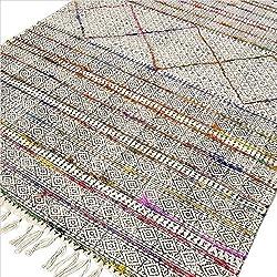 Eyes of India - Algodón Bloque Estampado Área Adorno sobreteñido Dhurrie Alfombra Tejido a Mano Tejido Plano - multicolor, 3 X 5 ft.( 91 X 152 cm )