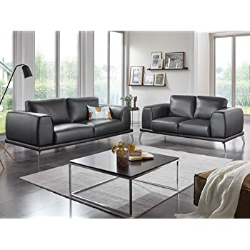 Design Ledercouch   Leder Couchgarnitur 3 2 Sitzer Ledersofa Schwarz Nizza Designer Sofa