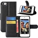 HualuBro Funda para iPod Touch 7, Carcasa de Protectora Cuero PU Billetera Cartera Plegable Funda Flip Leather Wallet Case Co