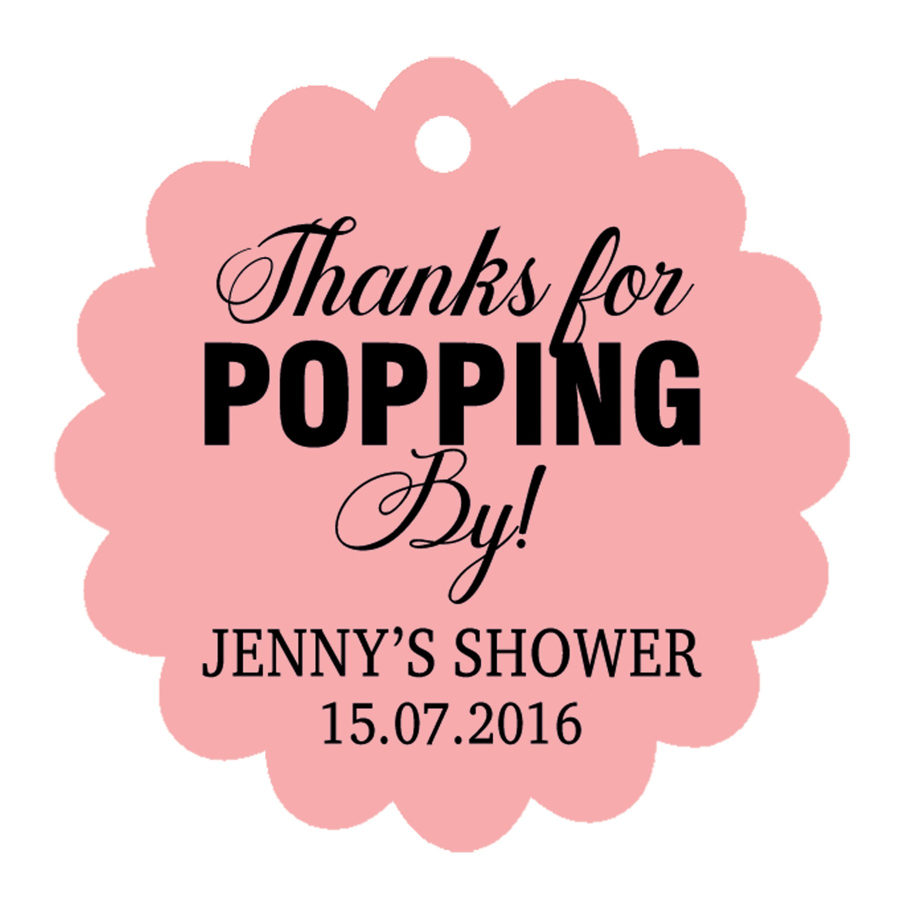 100�pcs Personalized Baby Shower Favors Etichette Personalizzate Scritta Thank You per Popping Baby
