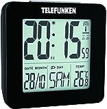 Telefunken Wecker Funkwecker digital LCD DCF mit Thermometer Temperaturanzeige und Kalender autom. Zeitumstellung schwarz FUD-25 (B)