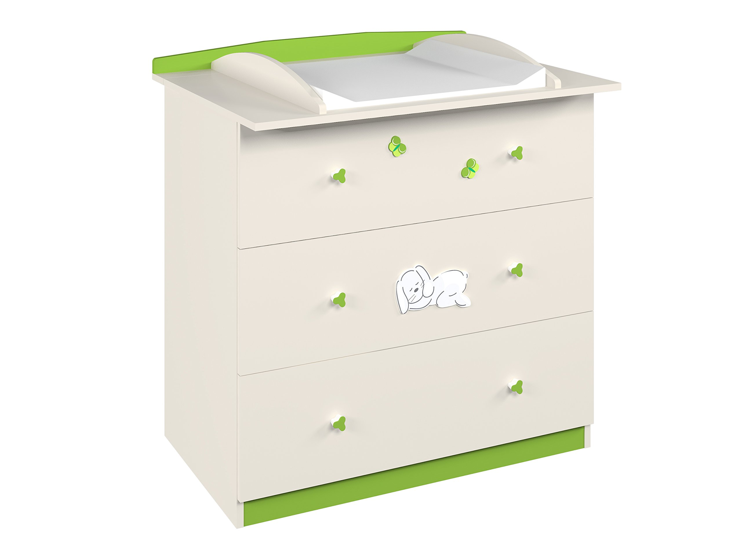 Polini Kids 0001523.45 Bunny 3190 Drawer Unit, Beige-Green Polini Kids Perfect solution for storing babies belongings Small ergonomic handles Comes in variety of colours 1