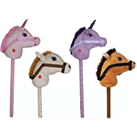 Unibos Kids Hobby Horse or Unicorn with Galloping Neighing Sounds Assorted Childrens Toy