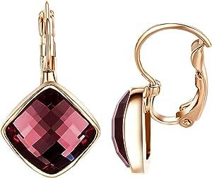 Yoursfs Verde, blu, grigio, vinaccia, viola, quadrati, orecchini con cristallo elegante con placcatura in oro rosa 18 carati, idea regalo
