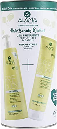 A ALAMA Professional Frequent Hair Beauty Routine Box, Set Shampoo+Conditioner, Nero, 824 Ml