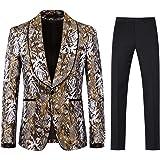 YFFUSHI Mens 2 Piece Slim Fit Suit Fashion Floral Print One Button Notched Lapel Jacket Blazer & Trousers