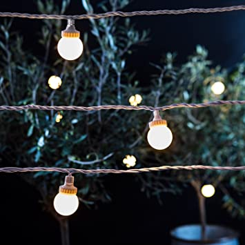 40 Warm White LED Outdoor Connectable PRO Series Festoon Party Lights On  White Cable By Lights4fun: Amazon.co.uk: Garden U0026 Outdoors