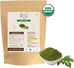 100% Organic Moringa Leaf Powder (0.5 lb / 227g / 08 oz) by Just Jaivik | Raw, Gluten-Free & Non-GMO - Certified Organic Under NPOP and NOP Standards