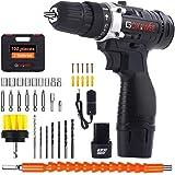 Taladro Atornillador 2 Baterías, GOXAWEE 100Pcs Kit Taladro Bateria/Destornillador Eléctrico (2 Baterías de Litio 1500mAh, 30