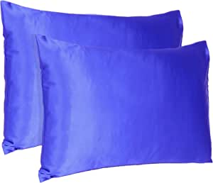Oussum Satin 300 TC Pillow Cover, Standard - 20 x 26 Inch, Royal Blue