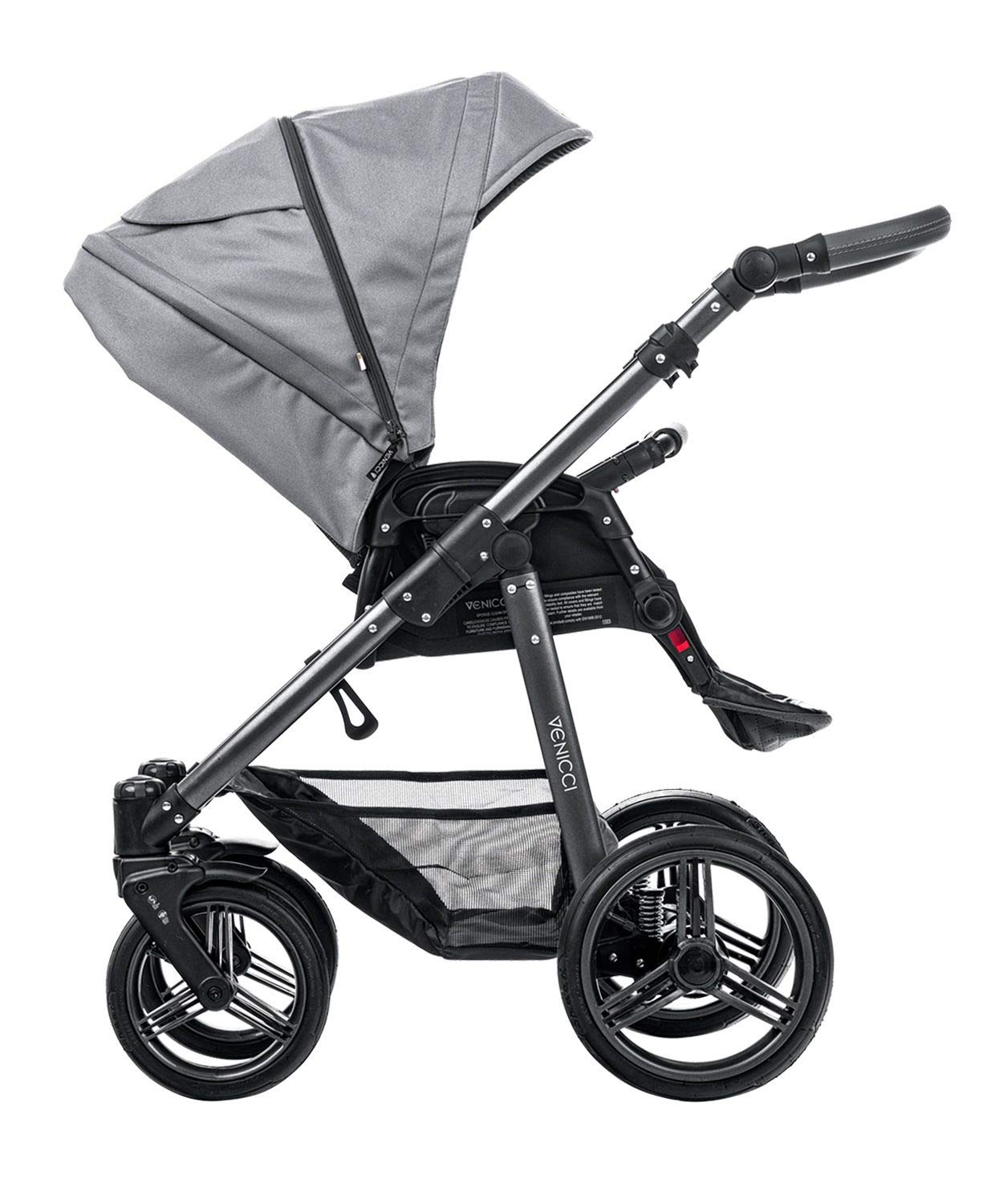 Venicci Carbo Lux 3-in-1 Travel System - Natural Grey - with Carrycot + Car Seat + Changing Bag + Apron + Raincover + Mosquito Net + 5-Point Harness and UV 50+ Fabric + Car Seat Adapters + Cup Holder Venicci 3 in 1 Travel System with included Group 0+ Car Seat 5-point harness to enhance the safety of your child Comfortable seat for baby with additional liners 3