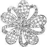 Broche Alfiler Pin Diamante Brillante Cristal Floral Para Baile De Boda Novia