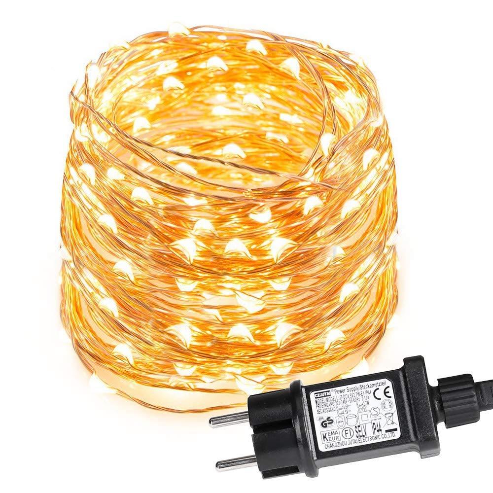 LE 10M LED Lichterkette aus Kupferdraht, 100 LEDs, Wasserdicht IP65, Strombetrieben, ideal für Weihnachtsdeko, Innen, Außen, Weihnachten Party usw. Warmweiß