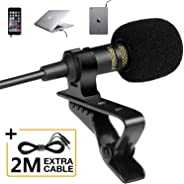 Professional Grade Lavalier Lapel Microphone - Omnidirectional Mic with Easy Clip On System - Perfect for Recording Youtube/