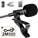 Professional Grade Lavalier Lapel Microphone - Omnidirectional Mic with Easy Clip On System - Perfect for Recording Youtube/I