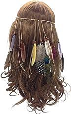 Ocamo Indian Feather Headband Tassel Hemp Rope Bohemian Peacock Feathers Hairband for Women Girls Festival Headdress